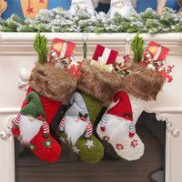 Mode Weihnachtsstrumpf Süßigkeit Socken Strick Geschenk Socken Weihnachten Weihnachtsdekoration Rudolph Strümpfe 3 Styles freies Verschiffen A11