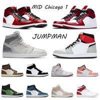 air jordan retro 1 1s 2020 High OG Mens 농구 신발 Mid Chicago Toe Black New Metallic Silver Light Smoke Gray Sneakers Jumpman TIE DYE Women Trainers 36-46
