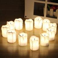 12 قطعة البطارية LED بالطاقة الكهربائية الخصم الاقمشه بيركلي الشموع الدافئة الابيض ليس الوميض الأسود ويك عديمة اللهب لزفاف عيد الميلاد