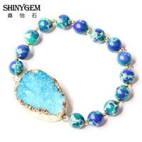 ShinyGem Yoga Natural Stone Bracelets 8mm Blue Green Sea Sediment Jaspers Bead Bracelets Handmade Gold Druzy For Women
