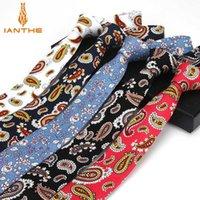 Шея галстуки бренда 100% хлопок мужская красочная пейсли цветочная галстука галстука узкая стройная тощая скважина свадебные галстуки Corbata