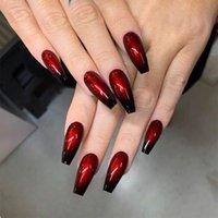 False Nails Balleerina Вино Красные дамы Полный ногтей Советы Extra Long Gradient Color Поддельные арт-маникюр 24 шт.