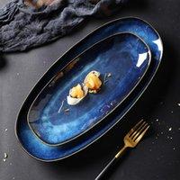 홈 레스토랑 디저트 블루 세라믹 플레이트 생선 과일 접시 식품 트레이 음식 서빙 플레이트 스낵 플레이트