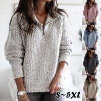 6 컬러 S-5XL 여성 겨울 따뜻한 스웨터 맨 티 여성 지퍼 점퍼 풀오버 탑 플러스 사이즈 58234720819578