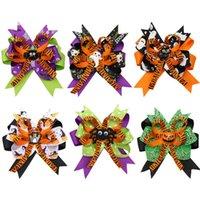 4.5 inchs decoración de Halloween cinta del grosgrain de los arcos del pelo para bebés fantasma clips calabaza Molinete accesorios para el cabello
