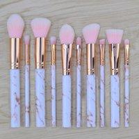 En stock! 10pcs Noir Rose Blanc Marbre Pinceaux Fondation fard à joues en poudre Sourcils Eyeliner pinceau de maquillage Set