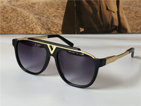 Hombres Vintage Gafas de sol 0937 Placa cuadrada Placa de combinación de metal Tizaje euro fuerte UV400 Lente con caja