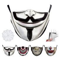 Spaß-Halloween-Maskerade-Partei-Joker Erwachsener mit 2 Schichten Gesichtsmaske Staub Mund Sport Waschbar Schutz Reusable Mode Maske facemask