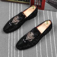 CuddlyIIPanda Men Fashion Casual Loafers Spring Summer Autumn Men Velvet Loafers Embroidery Note Party Dress Stage Shoes
