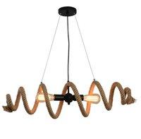 Amerikanische LOFT Vintage-Hanf-Seil hängende Lichter E27 Edison Wasserrohr LED Deckenhängelampe Restaurant Coffee Bar Wohnkultur