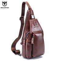 BULLCAPTAIN Mens Genuine Leather Chest pack Chest bag men Multifunctional Headphone Jack Bages Casual Messenger Bags Men Bags
