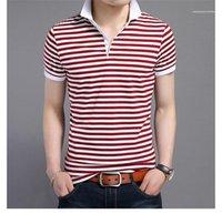 Impreso camisetas de manga corta delgada del contraste del color de moda gira el collar abajo para hombre del diseñador del Mens Tops Polos de rayas