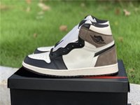 New Release Air Authentic 1 High OG TS Dark Mocha Men Basketball Shoes Travis Scott Black Sail leather Outdoor Sneakers With Original Box