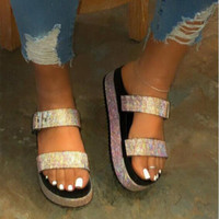 Sooneeya 2020 Summer Fashion Frauen Schuhe Frauen-Plattform-Sandelholz-Bling Kristall Slides mit Schnalle Slippers Thick Sole Flip Flops
