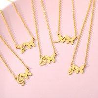 Initial Letters Schmetterlings-Halskette für Frauen-Edelstahl-A-Z Brief Halsband Schmetterlings-Anhänger Ketten Geburtstag Statement Schmuck Geschenk