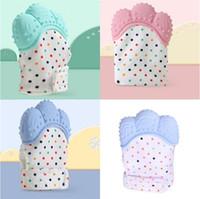 Beißen Baby Prevention Fäustlinge Infant Silikon Zahnen Glove Molaren Pflege Zahnersatz- Latex Zähne Mitt Maternal Kid-Punkt-Muster 5 1MB F2