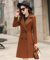 Laine de femme mélange l'automne et l'hiver Manteau Manteau de laine mi-longueur double boutonnée