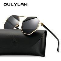 Güneş Gözlüğü Oulylan Vintage Poligon Kadınlar Trendy Kaş Tasarım Metal Güneş Gözlükleri Shades Retro Ayna Sunglass Pembe Mavi Gözlük