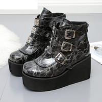 2020 New Fashion Winter Metal Buckle Ankel Boots Women Punk ...