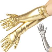 여성 섹시한 팔꿈치 길이 긴 라텍스 장갑 골드 은빛 습식 봐 가짜 가죽 금속 장갑 저녁 파티 성능 장갑