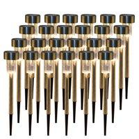 24pcs 5W Hoge helderheid Zonne-energie LED Gazonlampen met lampenkappen Warm Wit Energiebesparende Outdoor Lamp