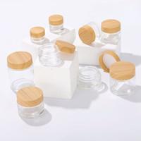 Visage en verre givré Jar à la crème avec des couvercles en bois en bois de bambou 5G / 10 g / 15g / 30 g / 50g / 100g de crème de maquillage cosmétique vide