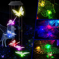 Luminária de enforcamento vento lâmpada de chime mudando a forma de borboleta luz solar luz para jardim pátio jardim feriado festa valentine decor