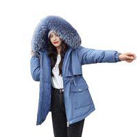 Sonbahar Kış Ceket Kadınlar Kadife Liner Kalınlaşmak Kapşonlu Parka Kadınlar İnce Big Kürk Yaka Sıcak Coat Parkas Kadın Dış Giyim
