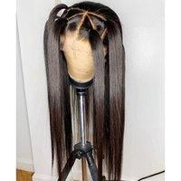 2020 pelucas llenas del cordón transparente de encaje peluca 150% Densidad con el pelo del bebé Derecho suizo pelo peluca de pelo humano del cordón de blanqueado nudos peluca larga