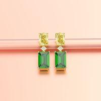 das PANSYSEN ouro Vintage cores mulheres elegantes Emerald brincos 100% 925 Sterling Silver Gemstone Brincos Fine Jewelry presente 200923