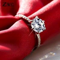 ZWC clásico de la manera de seis garra circón anillos de bodas para las mujeres de chicas 2020 joyería cristales de boda de compromiso de la mujer un anillo de recuerdos