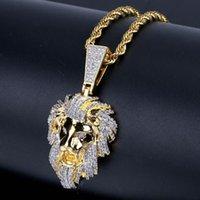 голова хип-хоп мужского кулон позолоченной микро набор ожерелье циркона битник Львиного