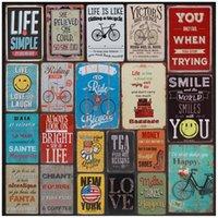 Autocollants Rétro métal Tintin Plaque signes Tin amour sourire vie heureuse signe Plate Poster Peinture décorations pour les murs