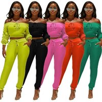 Spring Fall Women 2 Two Piece Set Long Sleeve Off Shoulder S...