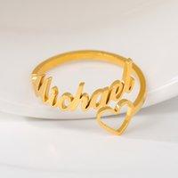 Personalizado amor do coração Nome Anel Carta Anéis casal jóias anel personalizado ouro rosa de aço inoxidável BFF anéis para mulheres
