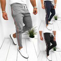 Erkekler Yaz Rahat Uzun Pantolon Spor Salonu Slim Fit Koşu Joggers Şerit Uzun Pantolon Sweatpants 2020 Yeni