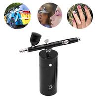 2020 Nuovo doppio del Airbrush di azione Kit compressore portatile della spazzola di aria della vernice pistola a spruzzo per unghie Nail Art Desgin tatuaggio