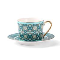 Lekoch Großhandel 250 ml Europa Knochen Porzellan Kaffeetasse Untertasse Set Grün Keramik Teetasse Set Cafe Party Nachmittag Teetasse