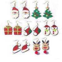 크리스마스 트리 산타 클로스 귀걸이 여성 드롭 매달려 귀걸이 크리스마스 산타 클로스 엘크 눈사람 휴일 보석