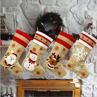 18.8inch рождественские чулки Burlap Canvas Санта снеговика Олени манжета Family Pack Чулки подарочные пакеты Xmas отдыха Party Decor YYA439