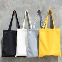 Fashion Women Solid Canvas Casual Tote Shoulder Bags For Girls Female Diy Handbags Eco Friendly Shopping Bag