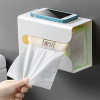 Wall Mounted Adhesive Tissue Box Napkin Holder Desktop Tray ...