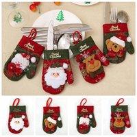 Natale Posate cucchiaio della forcella Borse tavola guanti della copertura del supporto di Natale pranzo da tavola decorazione decorazioni natalizie RRA3527