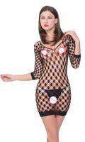 spalla della biancheria sexy nuda calda Plus Size femminile Calze a rete Vestito dalla bamboletta Donna Intimo costumi erotici biancheria sexy elastico