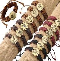 Douze Constellations Bracelets en cuir gainé de cuir Bracelets ps1463 en cuir du zodiaque