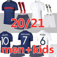 Homens + crianças 2021 2022 Jersey de futebol MBappe Griezmann Kante Pogba Maillot De Foot 20 2021 Kits Kits Conjunto de Futebol Shirts Uniforme