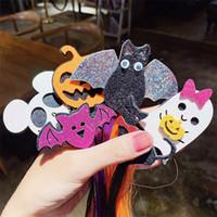 Halloween barrette peruca colorida hairpin clipe crianças meninas headress Santo Cat Bat Cabelo abóbora pins D82706 Partido Cosplay longa peruca cabelos