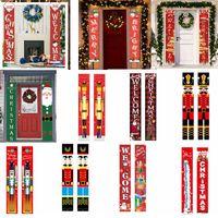 Bandeira Porta 25style Natal Couplets Feliz Natal Hanging Bandeira Porch bandeiras Entrar Decorações de suspensão cortina Xmas Dístico GGA3750-3