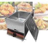 LEWIAO comercial de gas de dos cilindros Fries freidora Sartén franceses Máquina pollo frito Horno Equipo para freír alimentos Procesador Herramientas