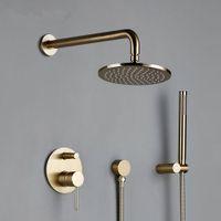 Latão escovado ouro Banho Banheira Chuveiro Rianfall Luxo Combo torneira Wall-Mount Arm água quente e fria Mixer Diverter Set